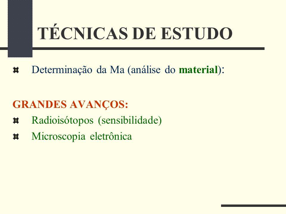 TÉCNICAS DE ESTUDO Determinação da Ma (análise do material):