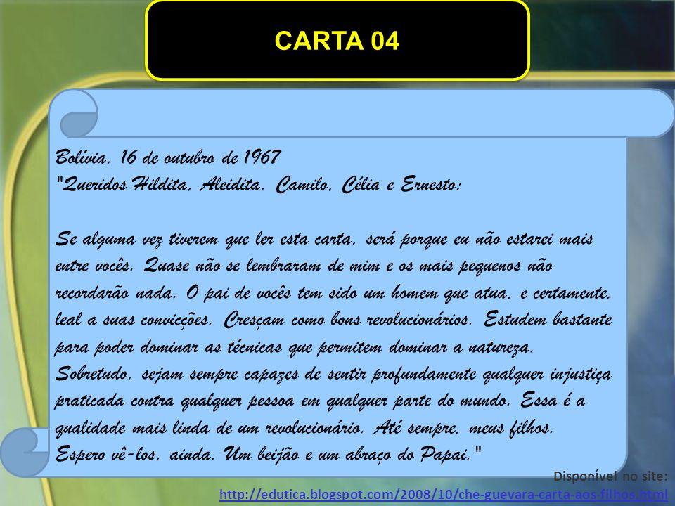 CARTA 04 Bolívia, 16 de outubro de 1967