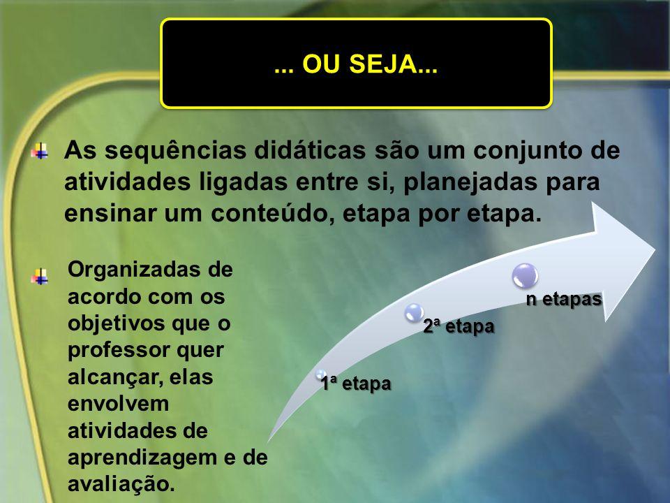 ... OU SEJA... As sequências didáticas são um conjunto de atividades ligadas entre si, planejadas para ensinar um conteúdo, etapa por etapa.