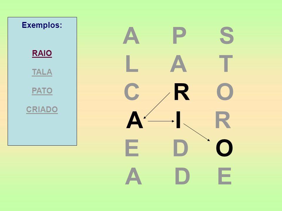 Exemplos: RAIO. TALA. PATO. CRIADO. A P S. L A T. C R O. A I R.