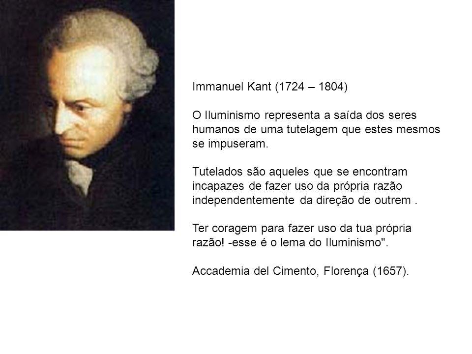 Immanuel Kant (1724 – 1804) O Iluminismo representa a saída dos seres humanos de uma tutelagem que estes mesmos se impuseram.