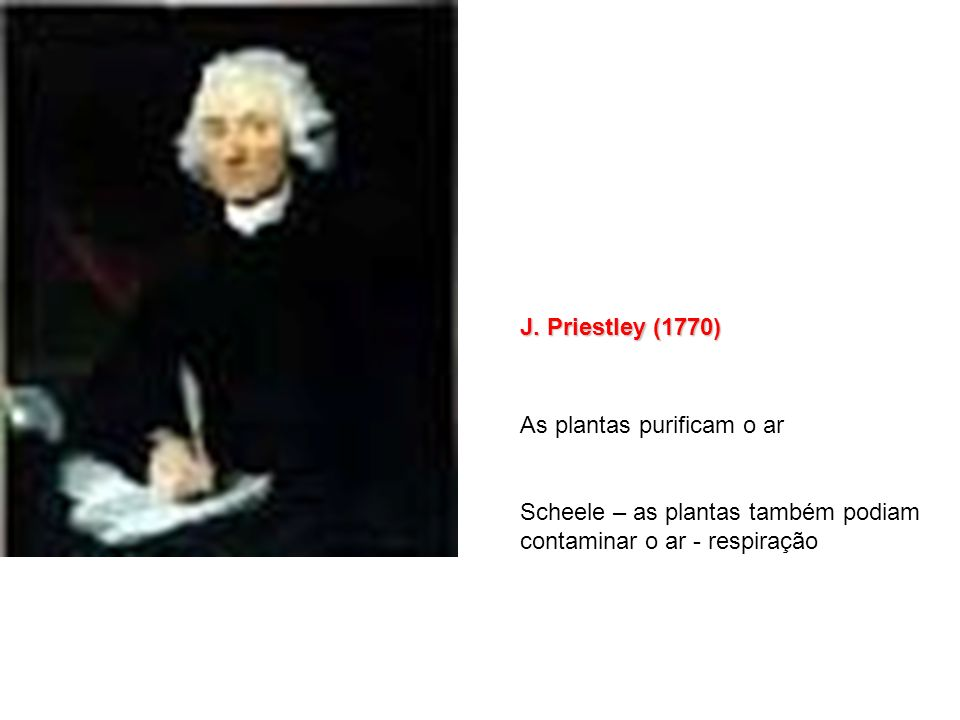 J. Priestley (1770) As plantas purificam o ar.