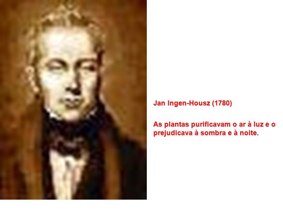 Jan Ingen-Housz (1780) As plantas purificavam o ar à luz e o prejudicava à sombra e à noite.