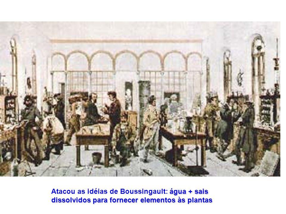 Atacou as idéias de Boussingault: água + sais dissolvidos para fornecer elementos às plantas