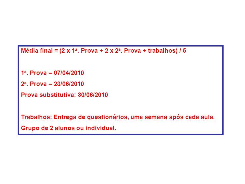 Média final = (2 x 1a. Prova + 2 x 2a. Prova + trabalhos) / 5