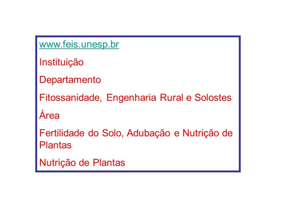www.feis.unesp.br Instituição. Departamento. Fitossanidade, Engenharia Rural e Solostes. Área.