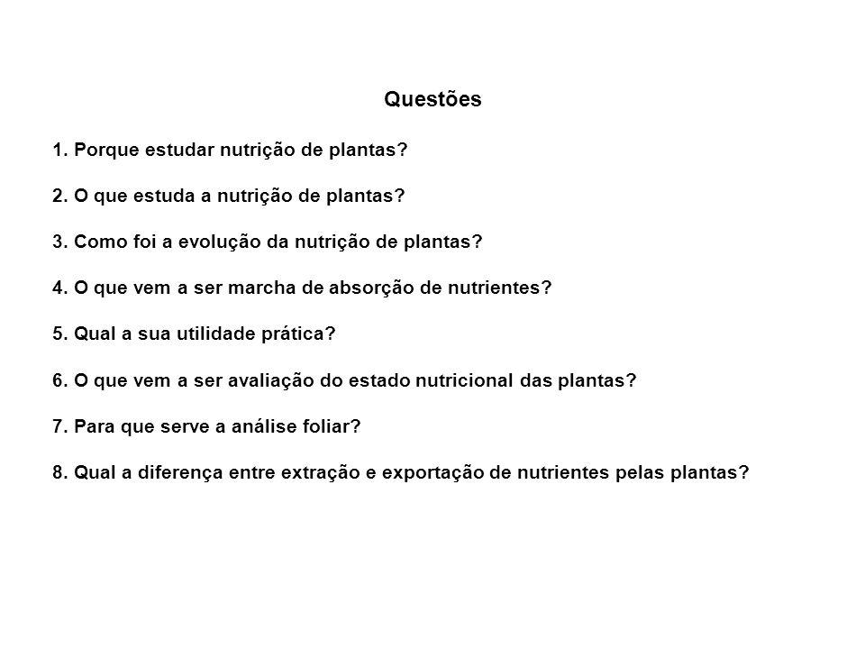 Questões 1. Porque estudar nutrição de plantas