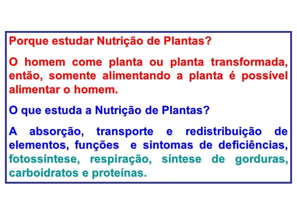Porque estudar Nutrição de Plantas
