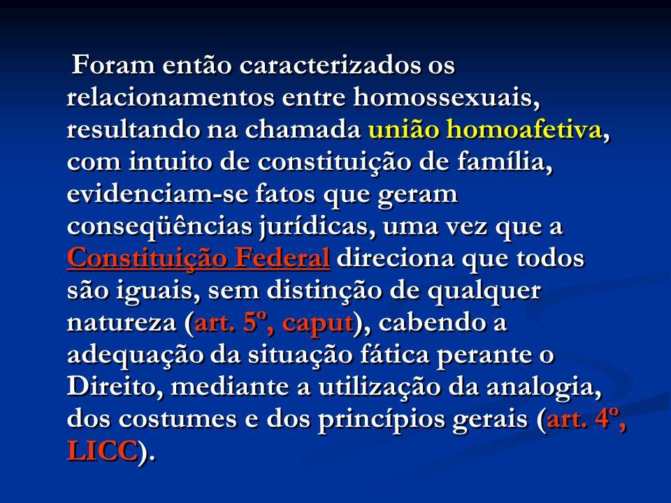 Foram então caracterizados os relacionamentos entre homossexuais, resultando na chamada união homoafetiva, com intuito de constituição de família, evidenciam-se fatos que geram conseqüências jurídicas, uma vez que a Constituição Federal direciona que todos são iguais, sem distinção de qualquer natureza (art.