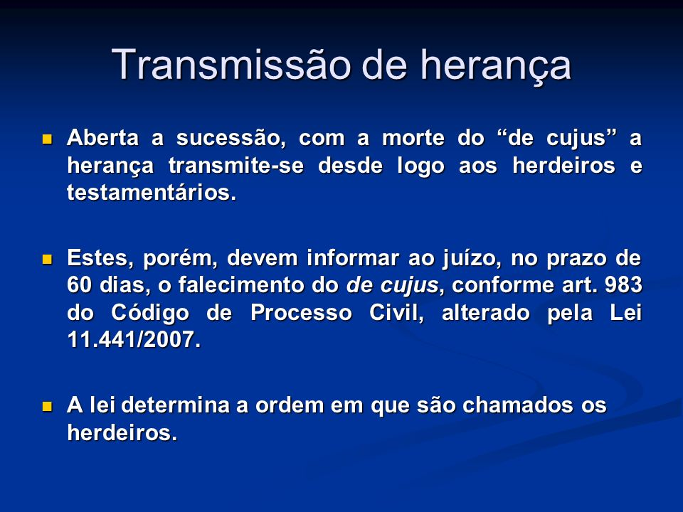 Transmissão de herança