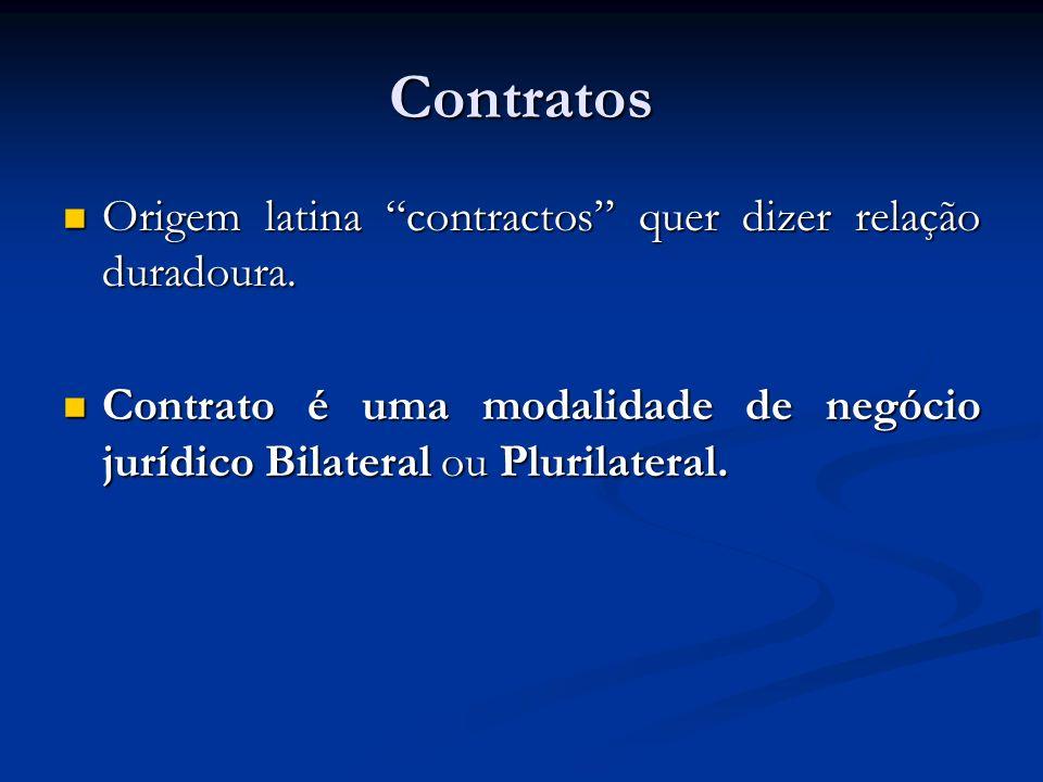 Contratos Origem latina contractos quer dizer relação duradoura.