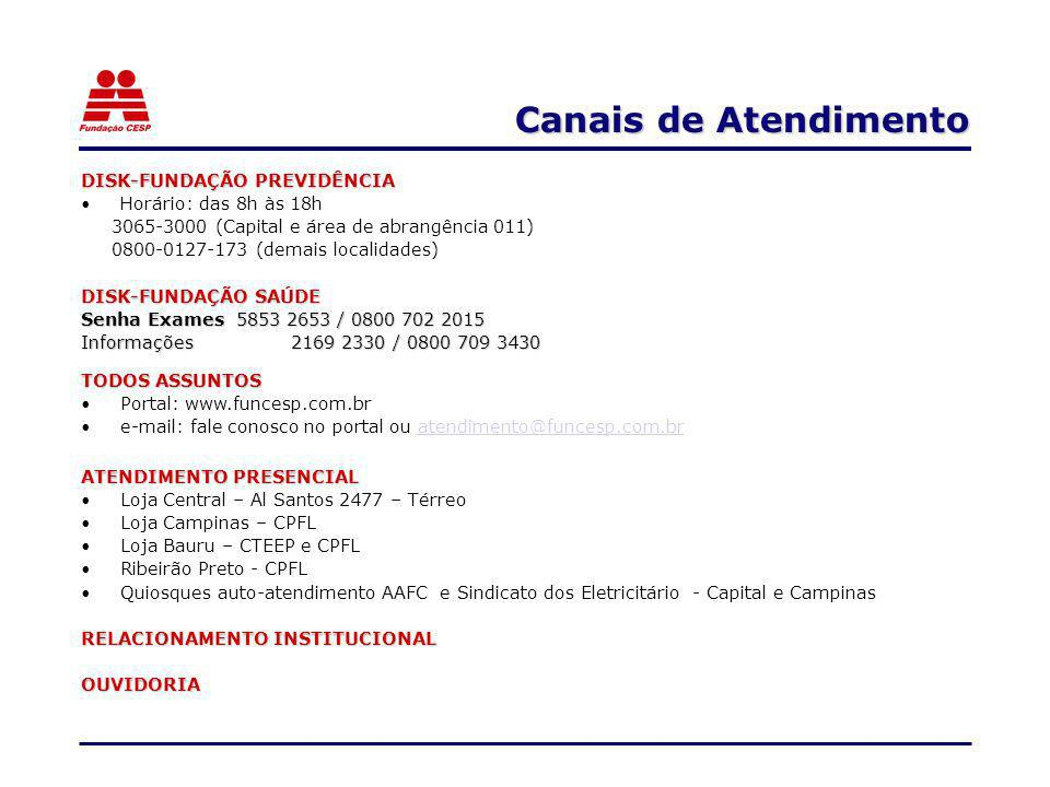 Canais de Atendimento DISK-FUNDAÇÃO PREVIDÊNCIA Horário: das 8h às 18h