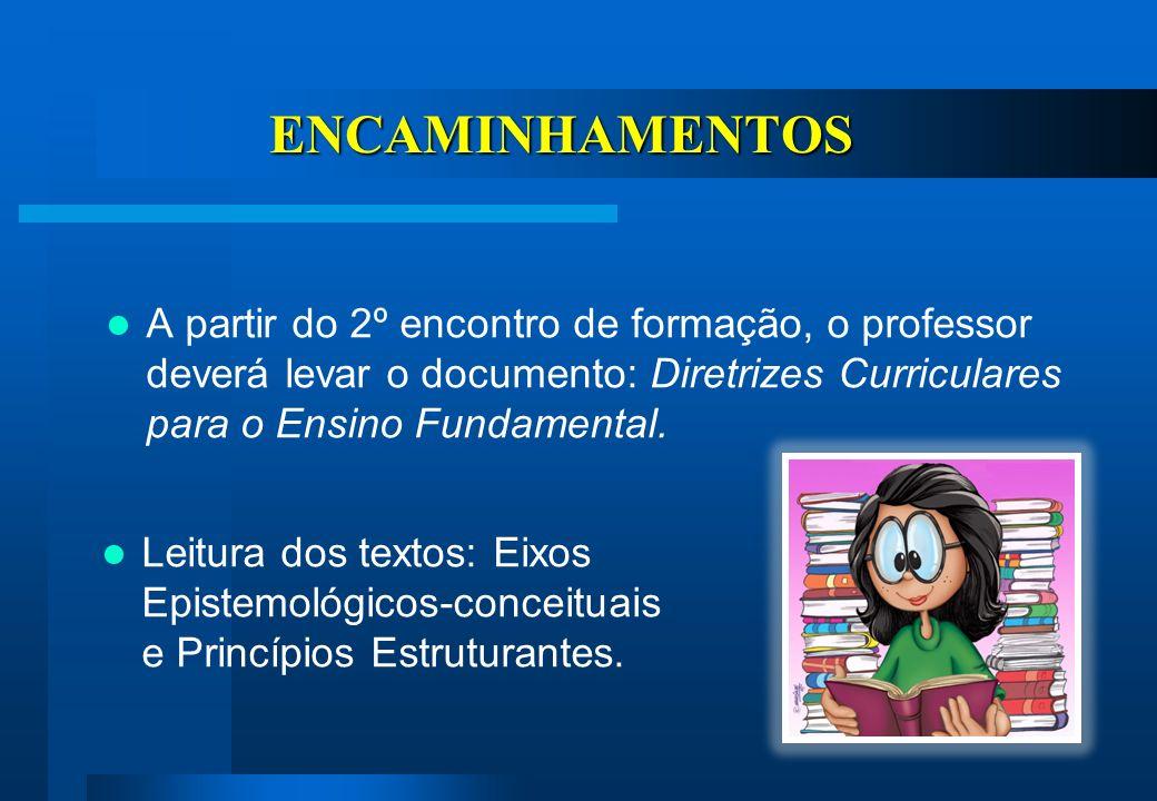 ENCAMINHAMENTOS A partir do 2º encontro de formação, o professor deverá levar o documento: Diretrizes Curriculares para o Ensino Fundamental.