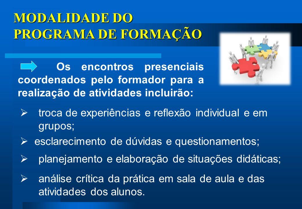 MODALIDADE DO PROGRAMA DE FORMAÇÃO
