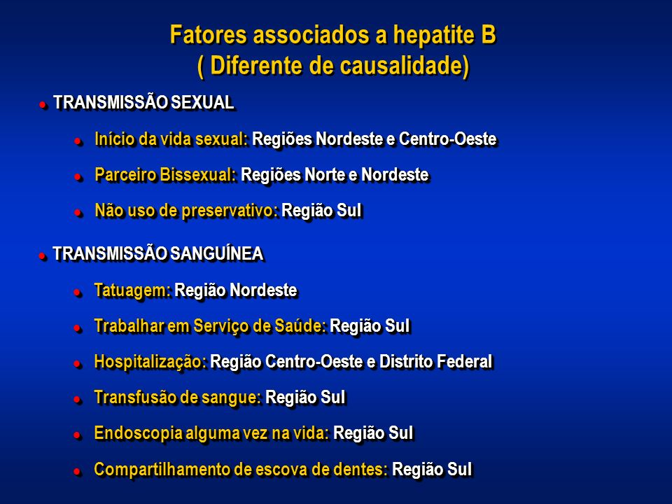 Fatores associados a hepatite B ( Diferente de causalidade)