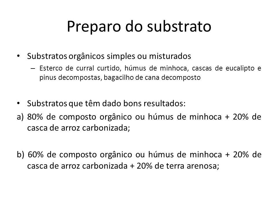 Preparo do substrato Substratos orgânicos simples ou misturados