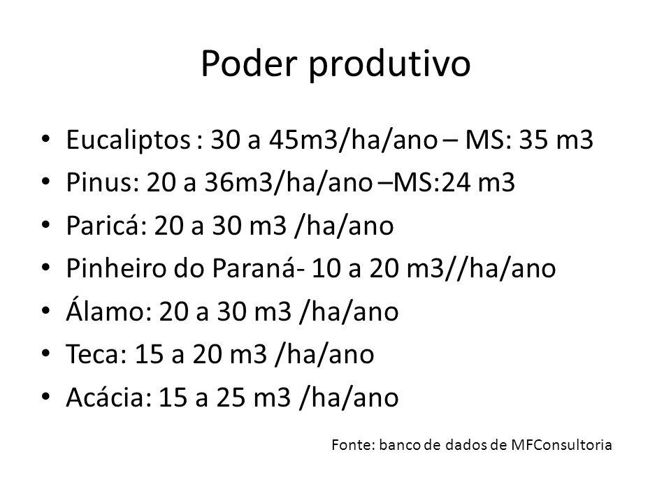 Poder produtivo Eucaliptos : 30 a 45m3/ha/ano – MS: 35 m3