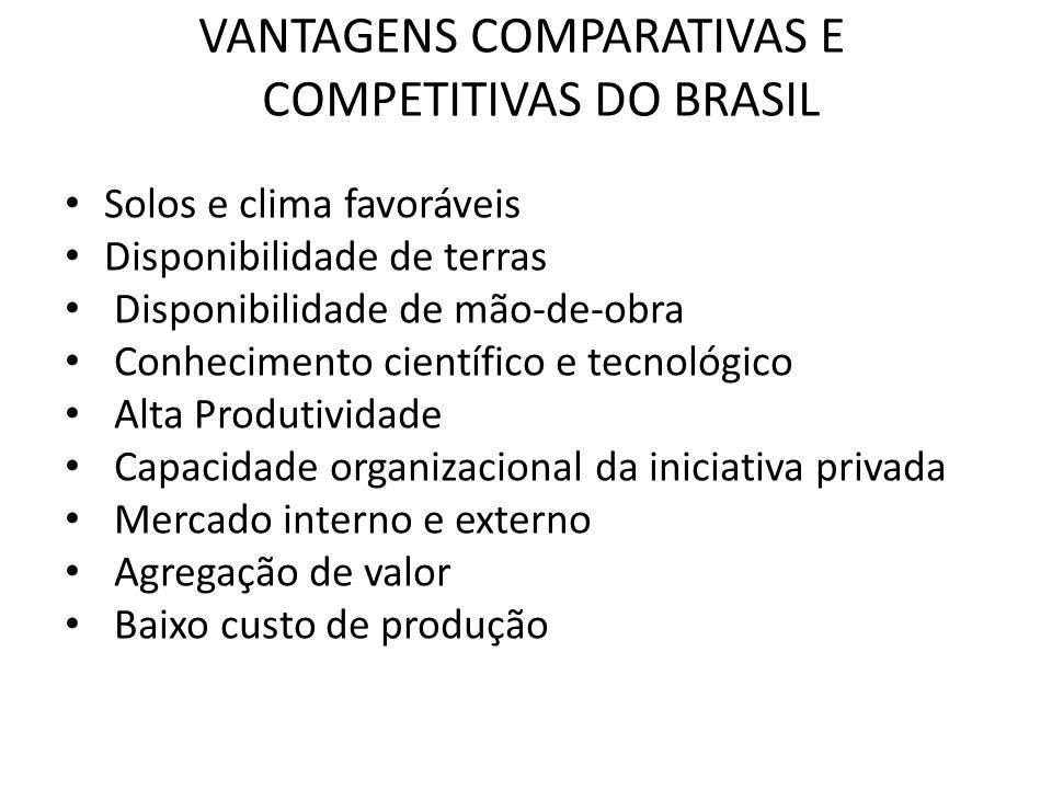 VANTAGENS COMPARATIVAS E COMPETITIVAS DO BRASIL