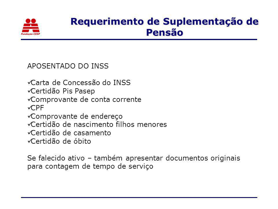 Requerimento de Suplementação de Pensão