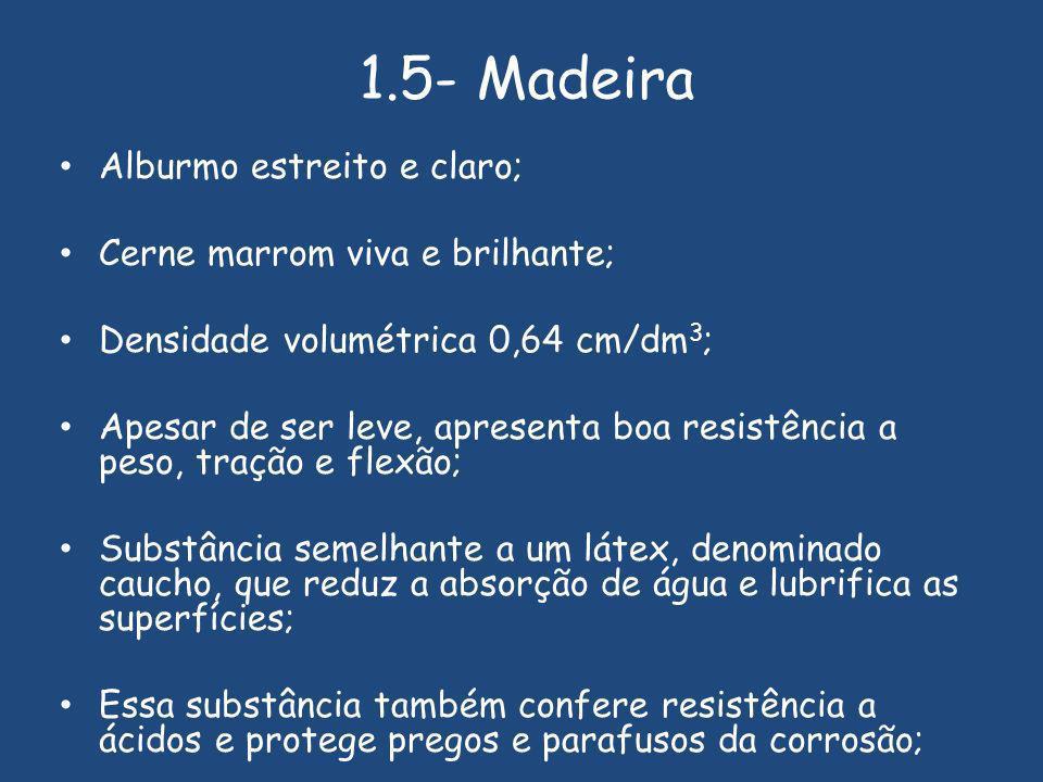 1.5- Madeira Alburmo estreito e claro; Cerne marrom viva e brilhante;