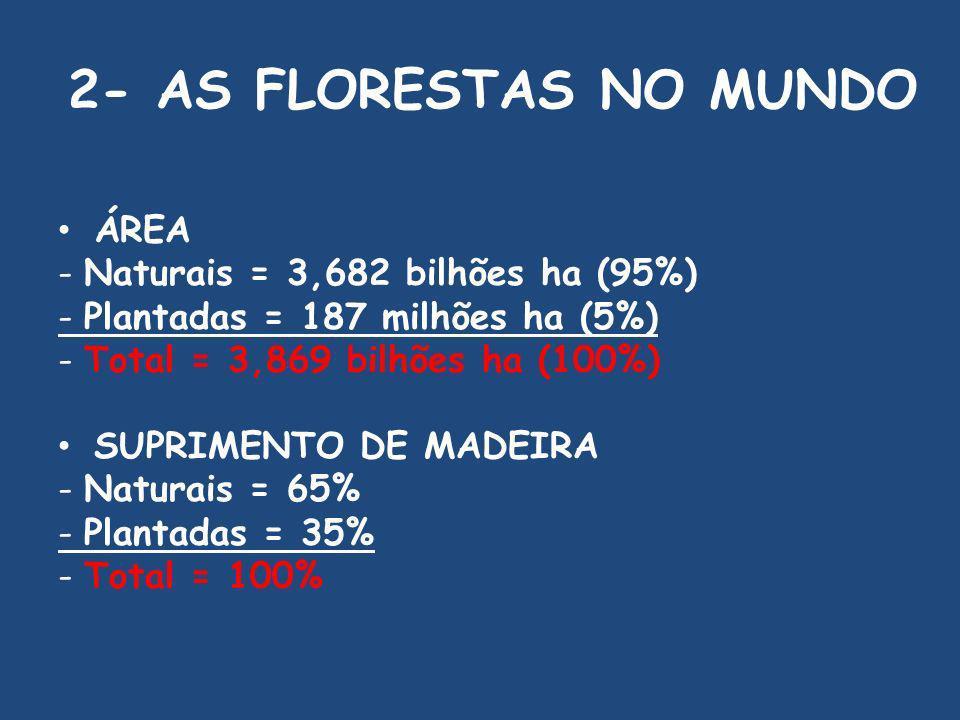 2- AS FLORESTAS NO MUNDO ÁREA - Naturais = 3,682 bilhões ha (95%)