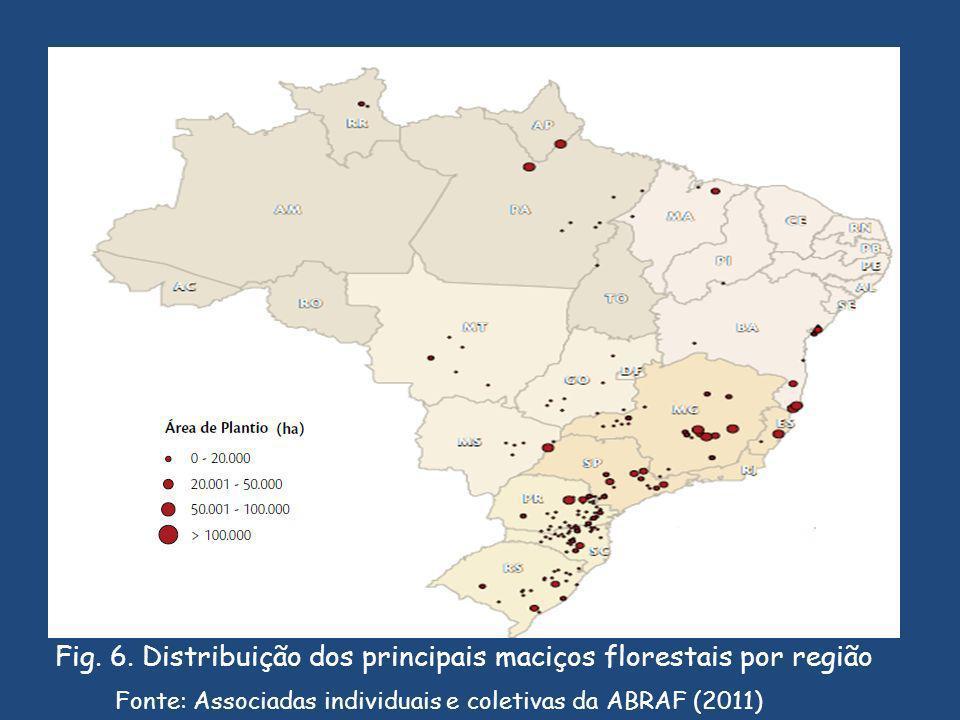 Fig. 6. Distribuição dos principais maciços florestais por região
