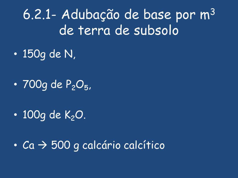 6.2.1- Adubação de base por m3 de terra de subsolo