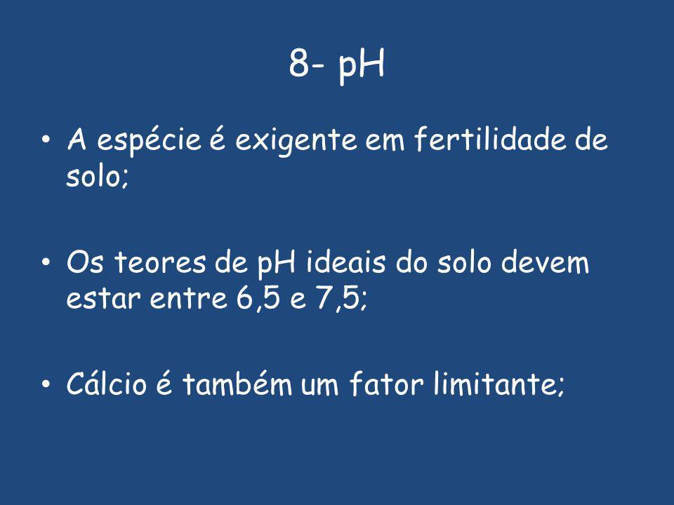 8- pH A espécie é exigente em fertilidade de solo;