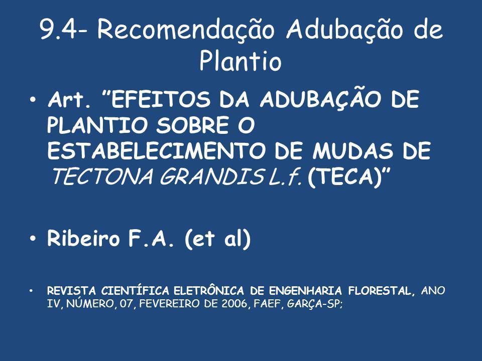 9.4- Recomendação Adubação de Plantio