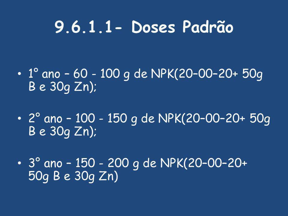 9.6.1.1- Doses Padrão 1° ano – 60 - 100 g de NPK(20–00–20+ 50g B e 30g Zn); 2° ano – 100 - 150 g de NPK(20–00–20+ 50g B e 30g Zn);