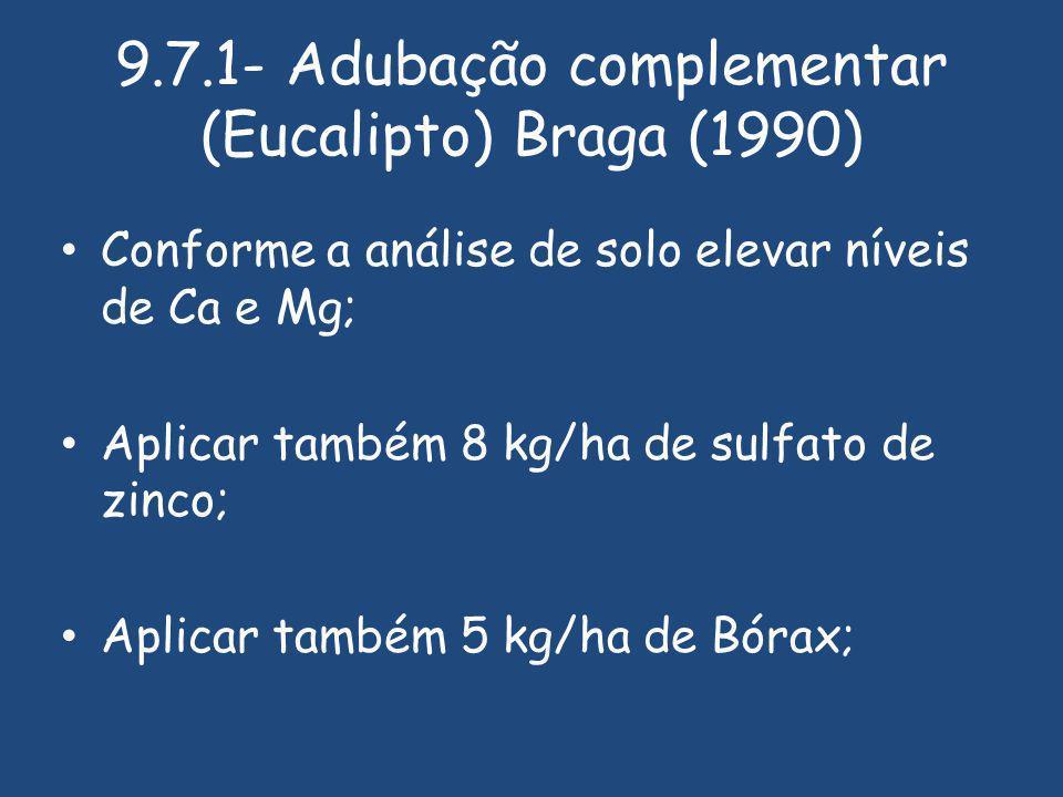 9.7.1- Adubação complementar (Eucalipto) Braga (1990)