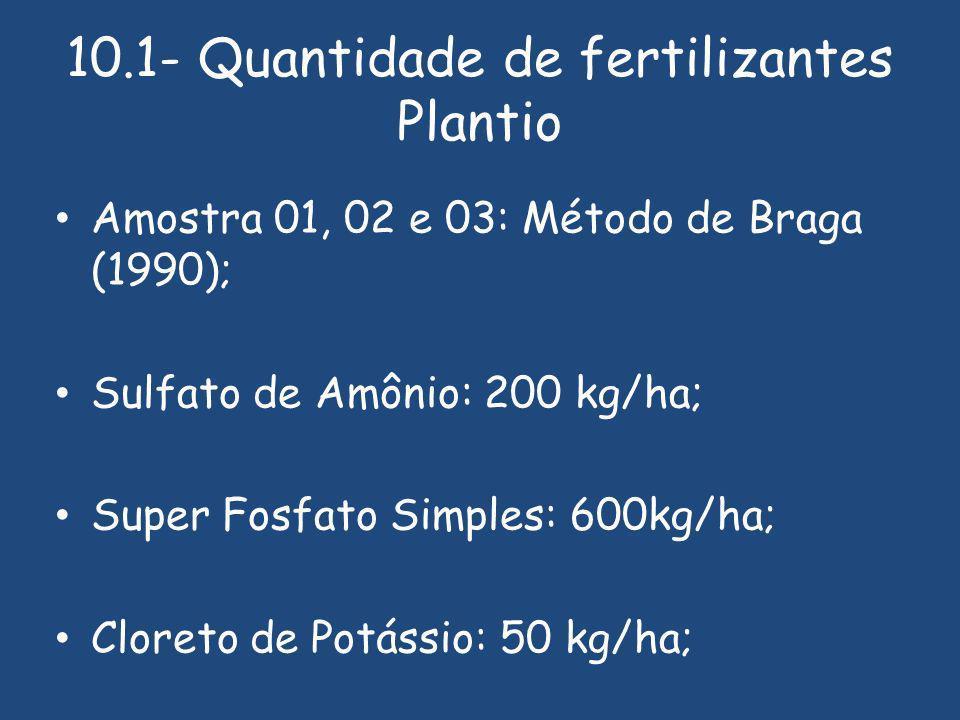 10.1- Quantidade de fertilizantes Plantio