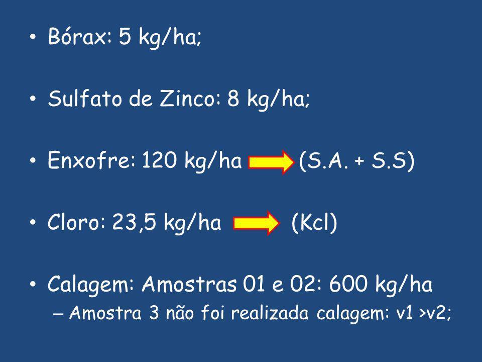 Sulfato de Zinco: 8 kg/ha; Enxofre: 120 kg/ha (S.A. + S.S)