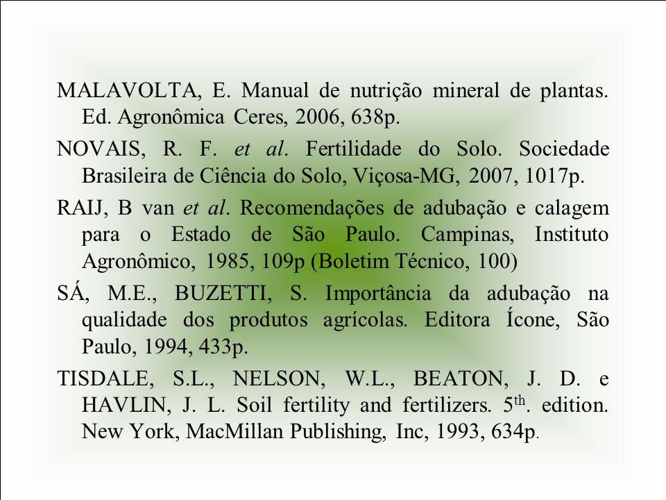 MALAVOLTA, E. Manual de nutrição mineral de plantas. Ed