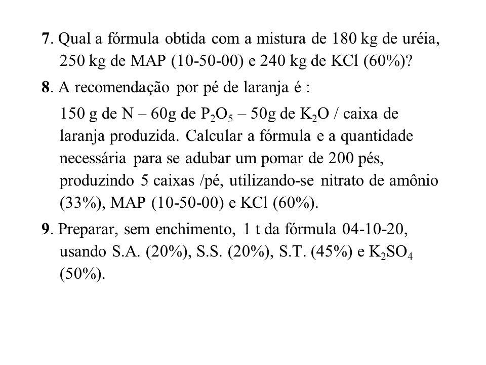 7. Qual a fórmula obtida com a mistura de 180 kg de uréia, 250 kg de MAP (10-50-00) e 240 kg de KCl (60%)