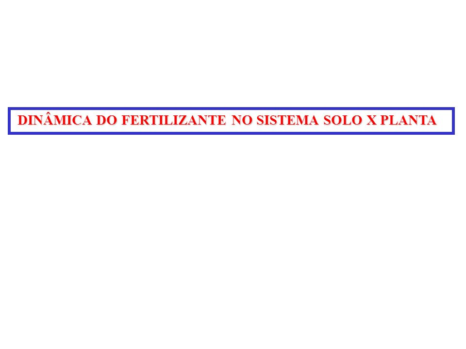 DINÂMICA DO FERTILIZANTE NO SISTEMA SOLO X PLANTA