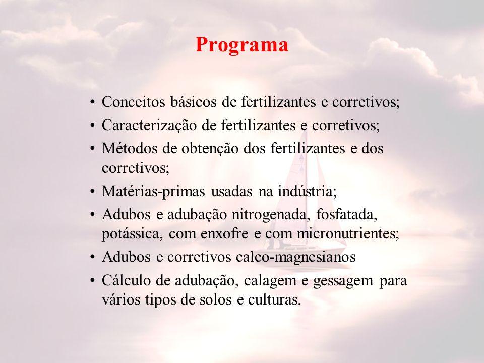 Programa Conceitos básicos de fertilizantes e corretivos;