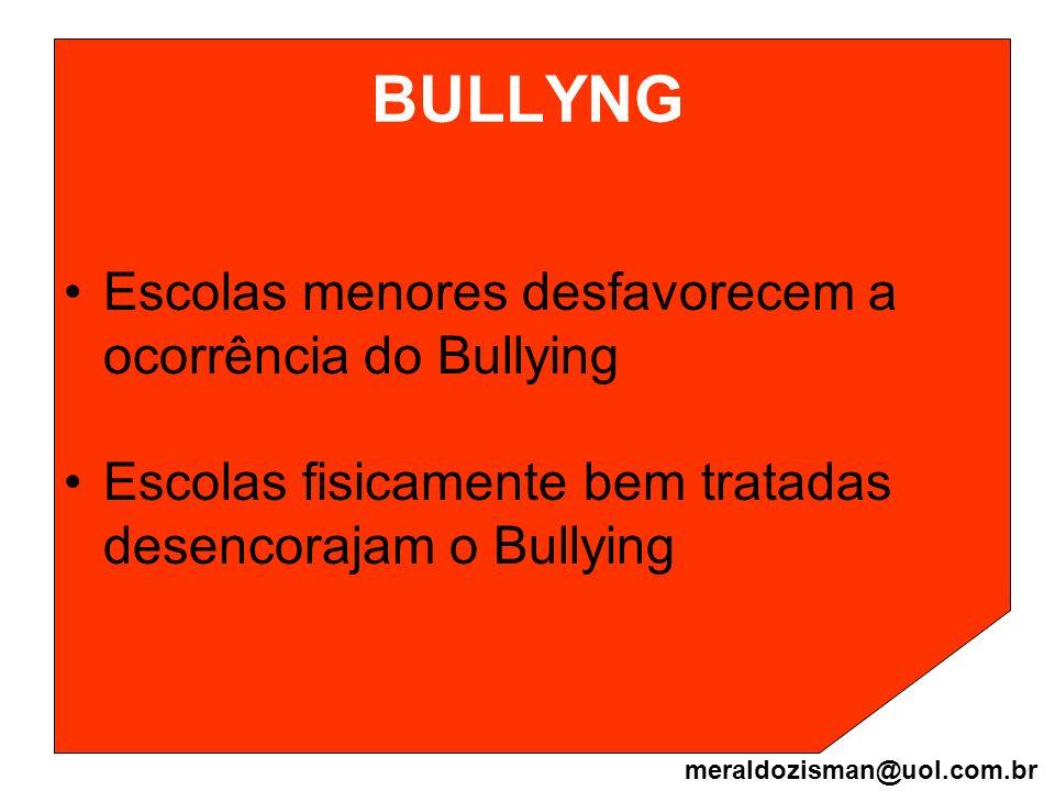 BULLYNG Escolas menores desfavorecem a ocorrência do Bullying