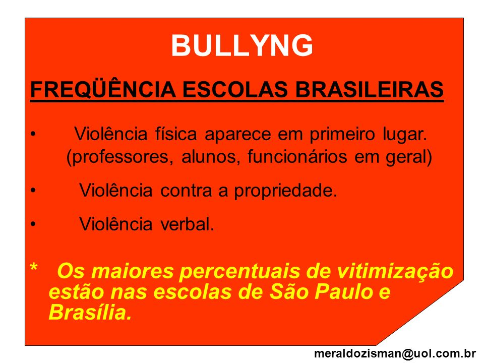 BULLYNG FREQÜÊNCIA ESCOLAS BRASILEIRAS