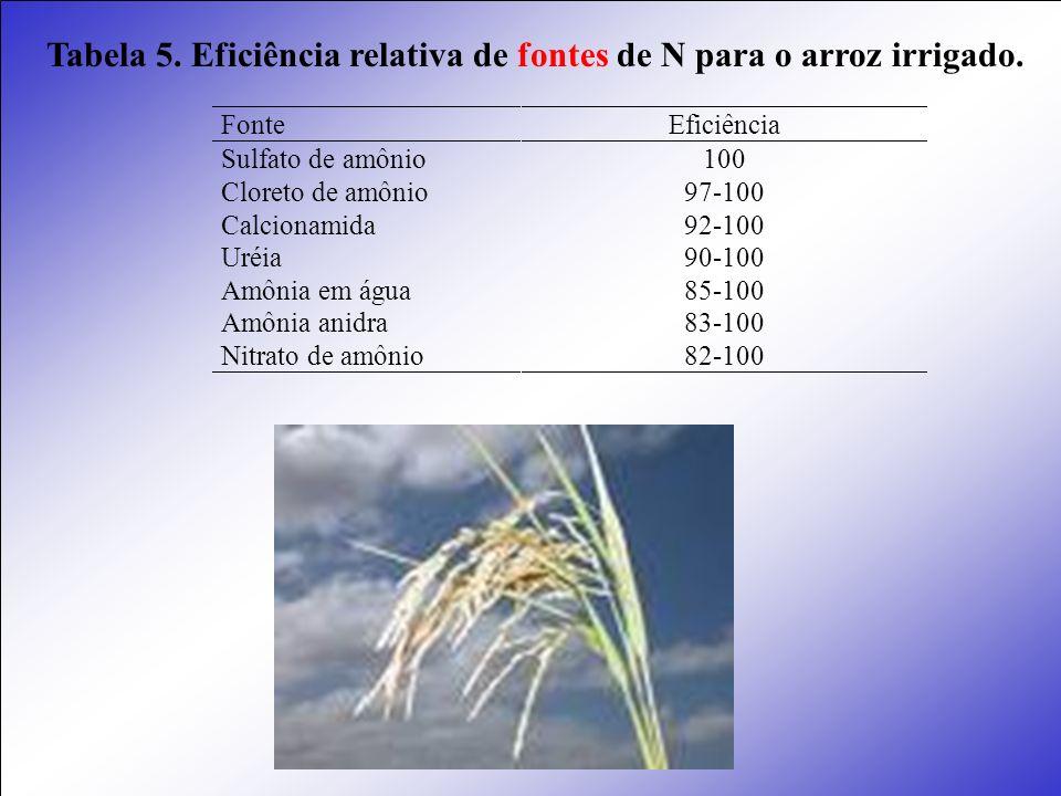 Tabela 5. Eficiência relativa de fontes de N para o arroz irrigado.