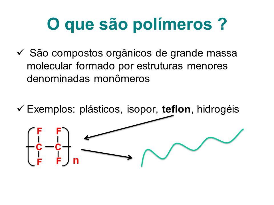 O que são polímeros São compostos orgânicos de grande massa molecular formado por estruturas menores denominadas monômeros.