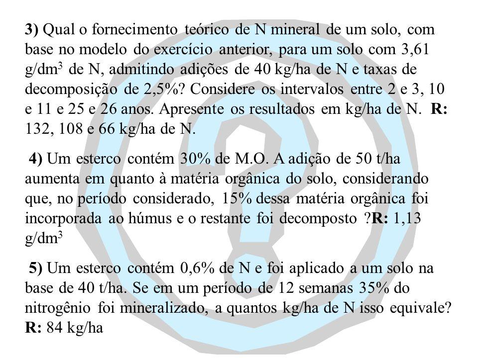 3) Qual o fornecimento teórico de N mineral de um solo, com base no modelo do exercício anterior, para um solo com 3,61 g/dm3 de N, admitindo adições de 40 kg/ha de N e taxas de decomposição de 2,5% Considere os intervalos entre 2 e 3, 10 e 11 e 25 e 26 anos. Apresente os resultados em kg/ha de N. R: 132, 108 e 66 kg/ha de N.