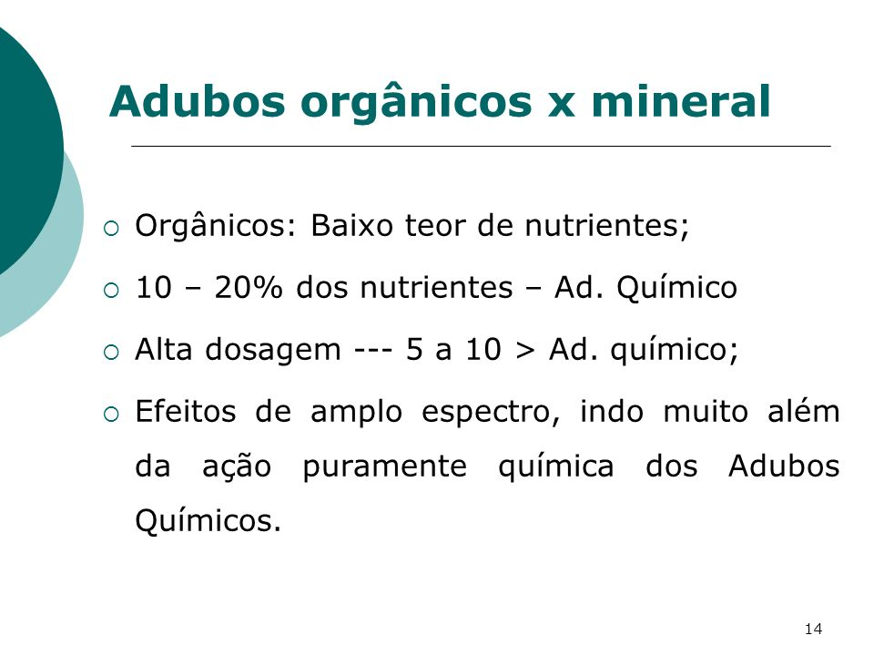 Adubos orgânicos x mineral