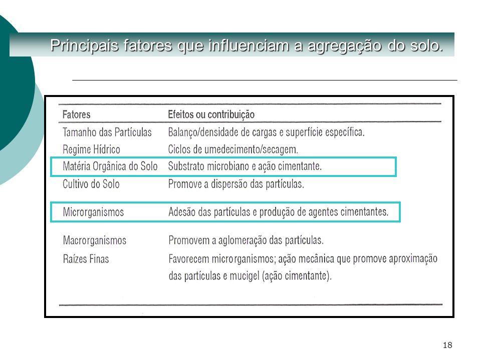 Principais fatores que influenciam a agregação do solo.