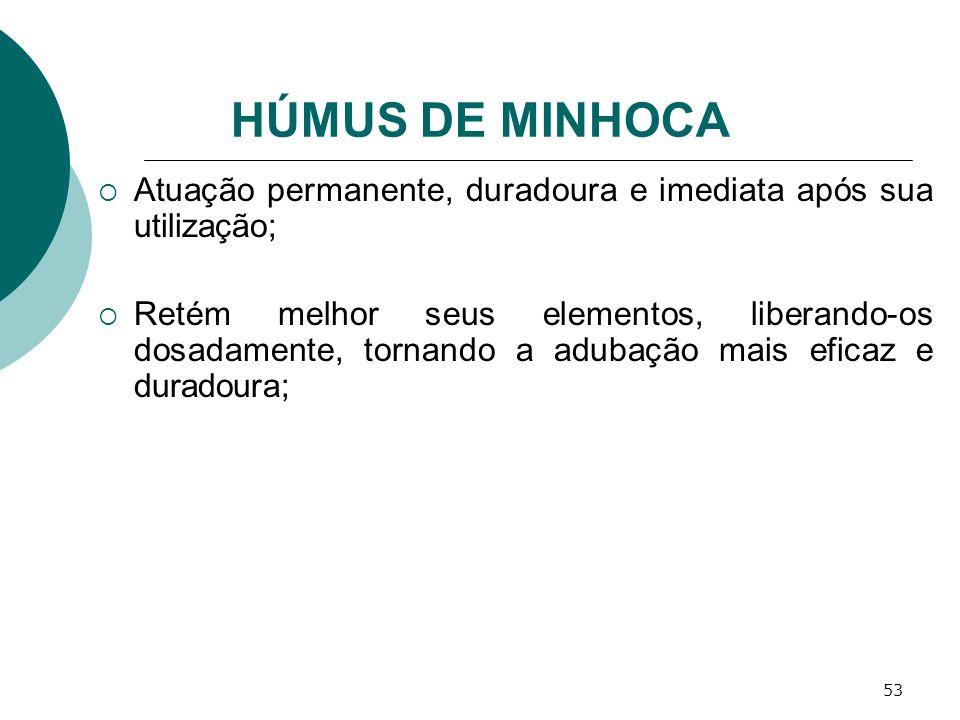 HÚMUS DE MINHOCA Atuação permanente, duradoura e imediata após sua utilização;