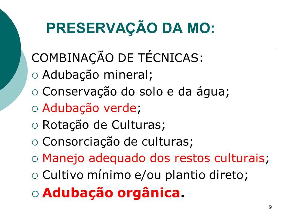 PRESERVAÇÃO DA MO: Adubação orgânica. COMBINAÇÃO DE TÉCNICAS: