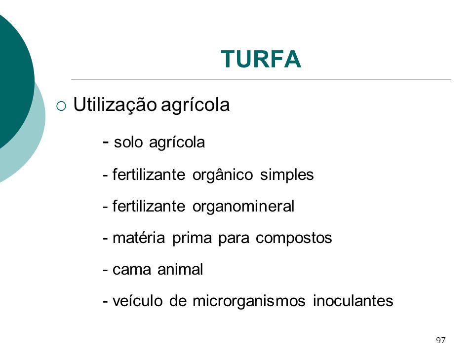 TURFA Utilização agrícola - solo agrícola
