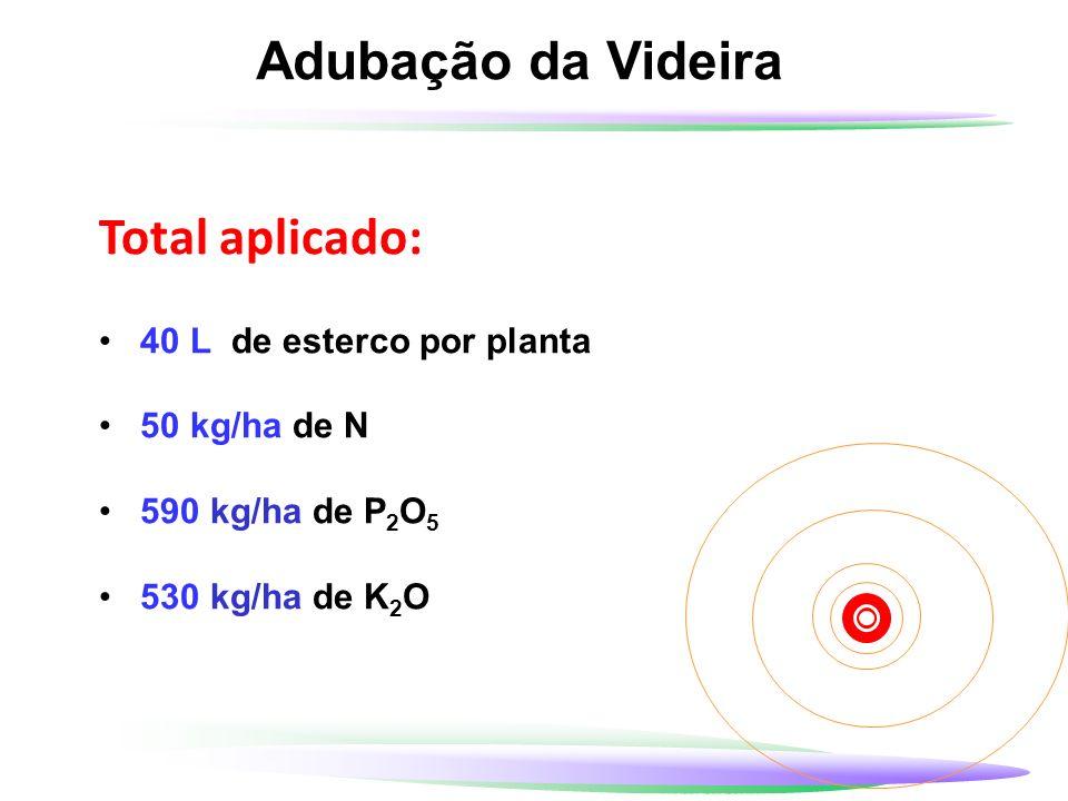 Adubação da Videira Total aplicado: 40 L de esterco por planta