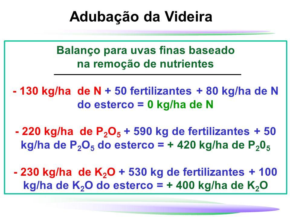 Balanço para uvas finas baseado na remoção de nutrientes