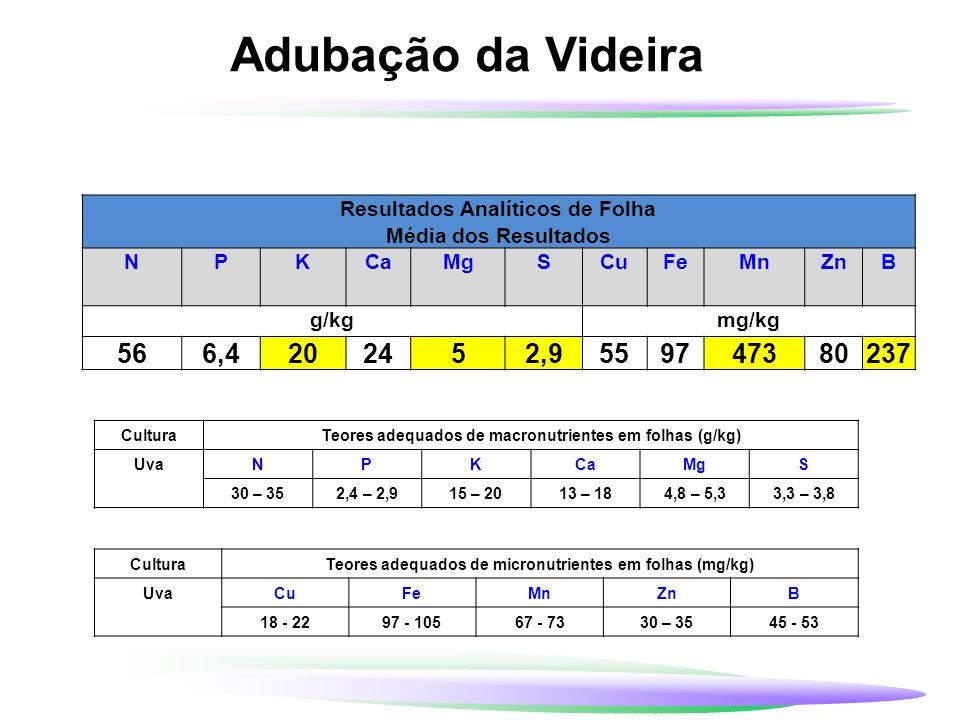 Adubação da VideiraResultados Analíticos de Folha. Média dos Resultados. N. P. K. Ca. Mg. S. Cu. Fe.